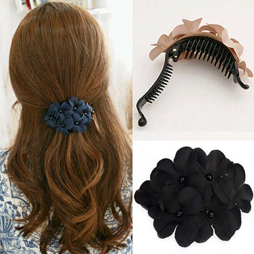 Bluelans Elegant Women Bead Cute Flower Hair Clip Barrette Clamp Hairpin Hair Accessory