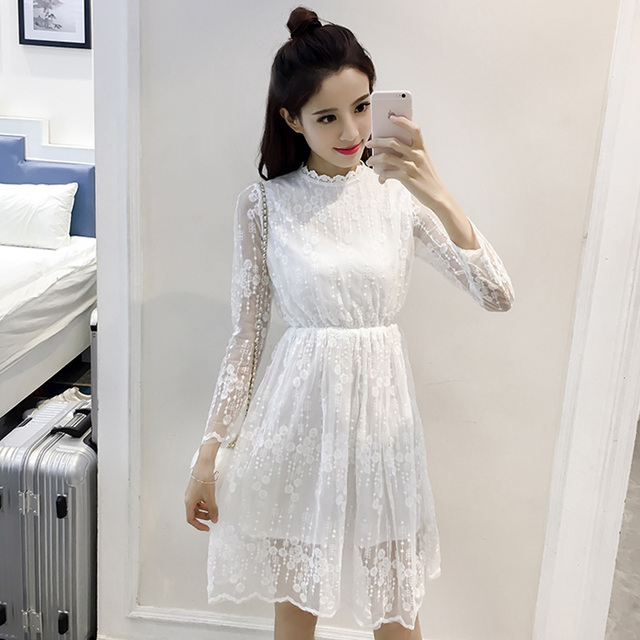 86a222cffb6d Lace dress 2019 women spring autumn South Korea fashion bohemian long  sleeve white lace one-piece dress gown vestido de festa