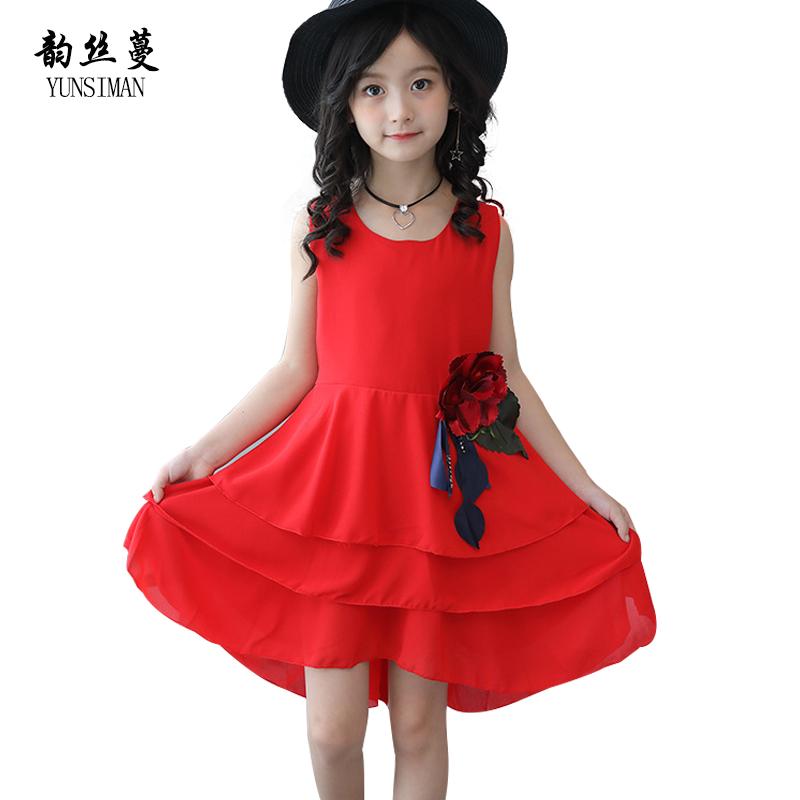 Baby Girls Clothes Size 8 9 10 11 12 Years Children Chiffon Large Flower Dress Kids Princess Dresses for Wedding and Party 5C24 summer 2017 new girl dress baby princess dresses flower girls dresses for party and wedding kids children clothing 4 6 8 10 year
