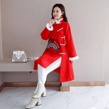 Original Winter Chinese Style Red Woolen Coat Embroidery Rabbit Fur Plus Cotton Thickening(China)