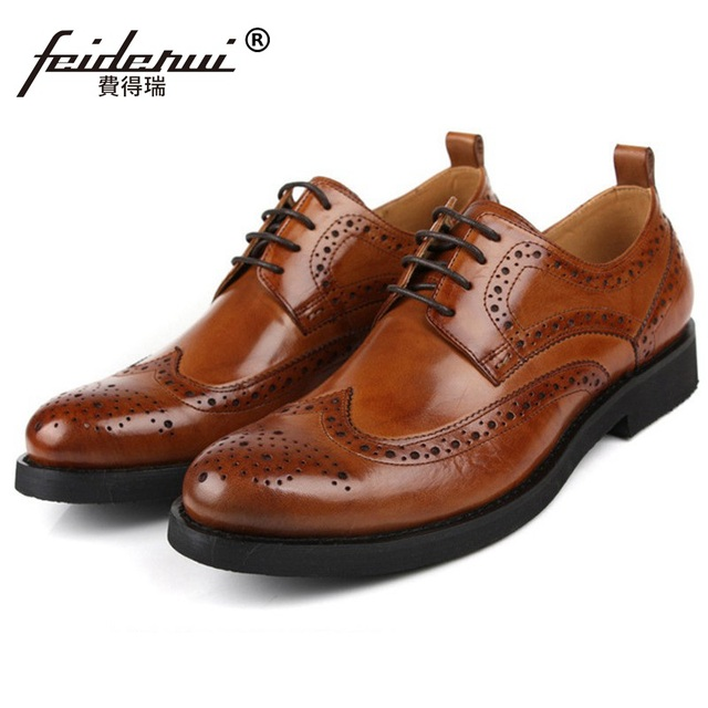 c0541ea6f87 New Arrival Brand Man Dress Platform Shoes Genuine Leather Vintage Brogue  Oxfords Round Toe British Men s Carved Flats CA64