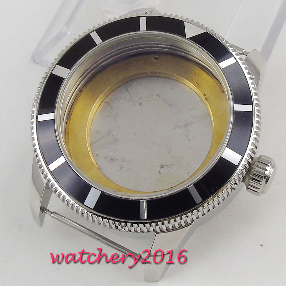 New 46mm parnis polished stainless steel case hardened mineral glass fit 2824 2836 movement Watch Case 46mm parnis polished steel case luminous marks