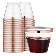 9 oz 60 packs rose gold edge transparent plastic cup - travel camping birthday wedding party disposable