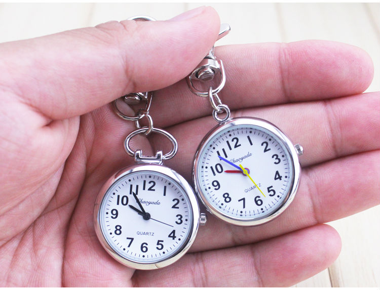 Drop Shipping Large Face Nurses Pocket Fob Watch on a Bar with a keychain Back Silver Color Promotion