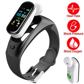 Fitness Smart Watch Men Women Wireless Earphone Bluetooth Heart Rate Monitor Pedometer Health Touch Sport Watch For Android IOS