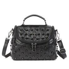 Здесь можно купить  Fashion rivet stlye Genuine Leather sheepskin lady bag luxury handbags women bags designer casual Women shoulder bag Tote SAC