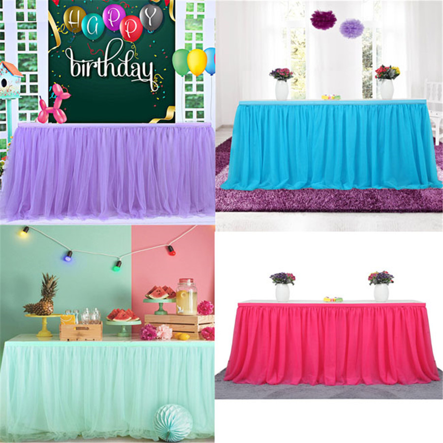 Tutu Table Skirt Soft Tulle Cover Wedding Baby Shower Birthday Party Decor Hot