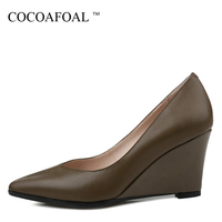 COCOAFOAL Woman High Heels Wedge Shoes Fashion Sexy Pointed Toe Genuine Leather Shoes Plus Size 33 42 Party Wedding Pumps 2018