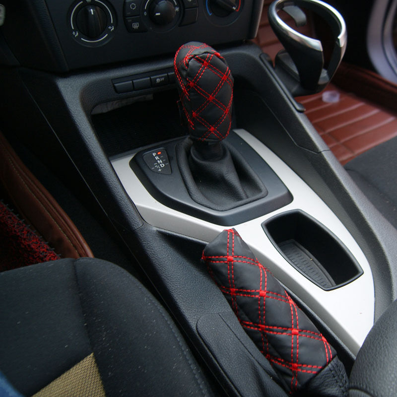 Car Accessory Decoration Gear Set Hand Brake Covers black & white/red