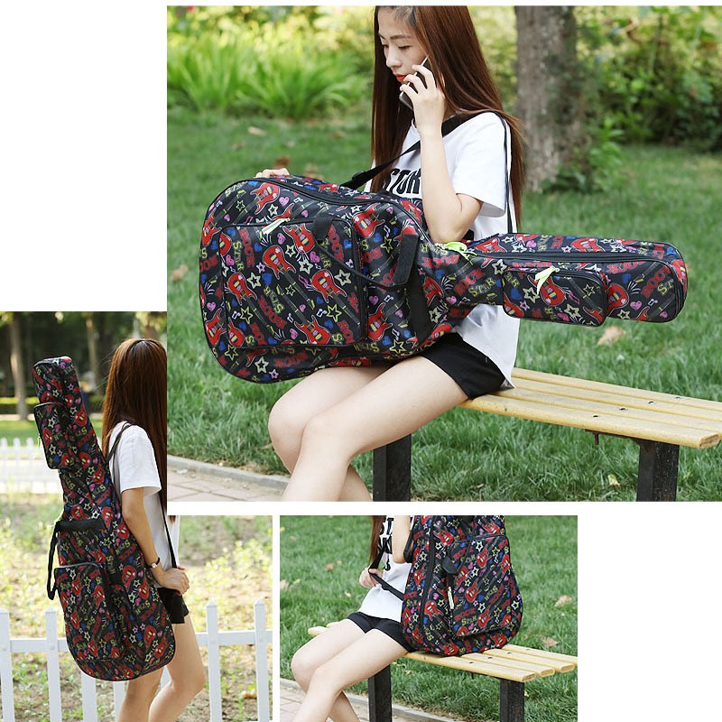 40 41 inch folk guitar bag acoustic waterproof padded thick Guitarra backpack case gig durable cover with Double Shoulder Straps 41 inch classical acoustic guitar back carry cover case bag 5mm shoulder straps