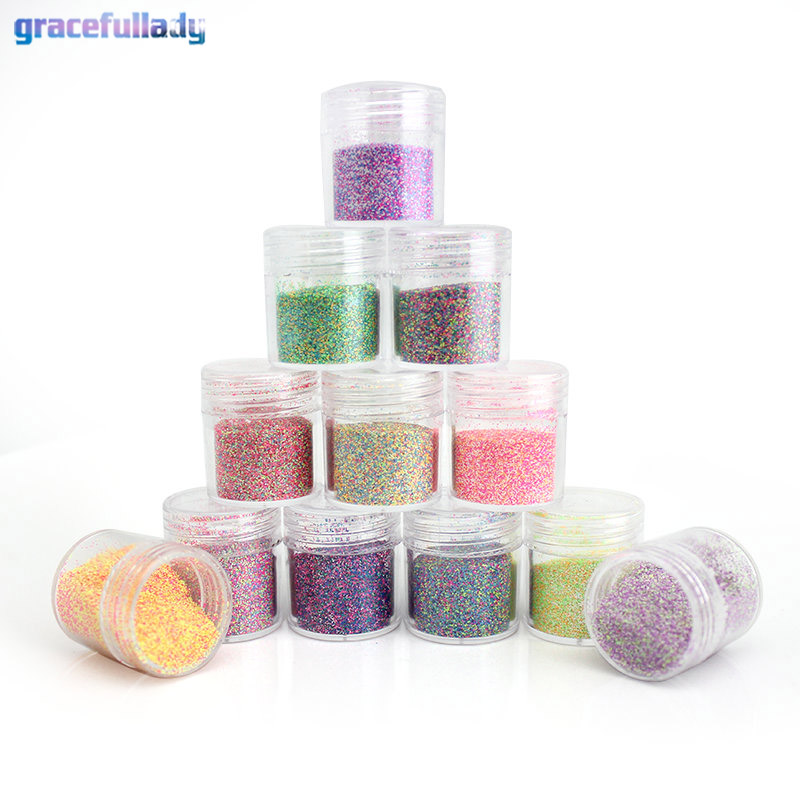 Gracefullady Wholesale 12 Jar 12 Colors Nail Powder Manicure Nail Art Glitter Powder Dust Tip Nail
