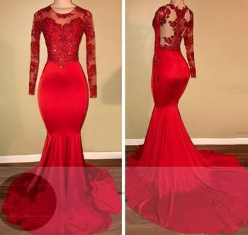 Real Photo Appliques Sheer Red Long-Sleeves Bridesmaid Dresses