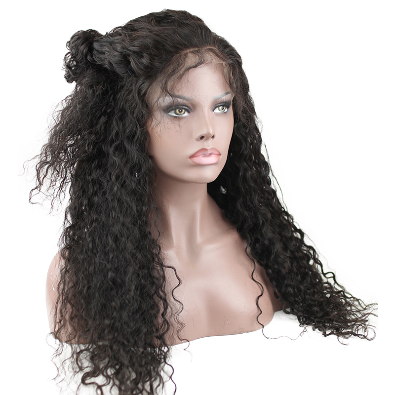 Deep Curly Full Lace Wigs Pre Plucked Bleached Knots 180 Density Ponytail Brazilian Remy Human Hair Lace Wigs Baby Hair Eseewigs