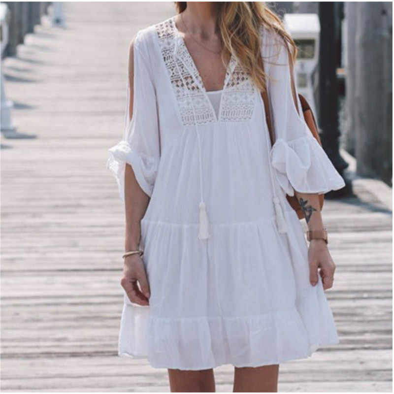 61c4a8380f0a7 Plus Size Women Summer Beachwear Tops Cotton Tunic Beach Dress Swimsuit  Cover Up Swimwear Skirt Tunika Sexy Sarong plage pareos