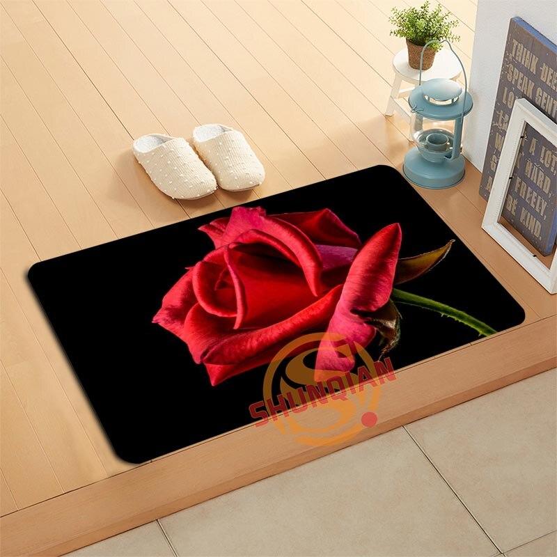 Benutzerdefinierte Blume Rosen Fußmatte Bad Matten Fuß Pad Home ...