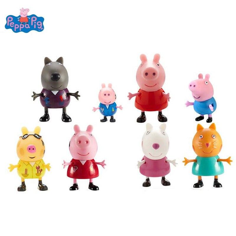 Pacchetto Famiglia Papà Mamma Peppa pig George guinea pig rosa Action Figure Originale Pelucia Anime Giocattoli Boy girl regalo