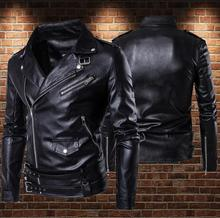 Black brown motorcycle leather jacket men Punk diagonal zipper Stand collar mens leather jackets and coats biker plus size 5XL stand collar plus size 3d flower and leopard print jacket