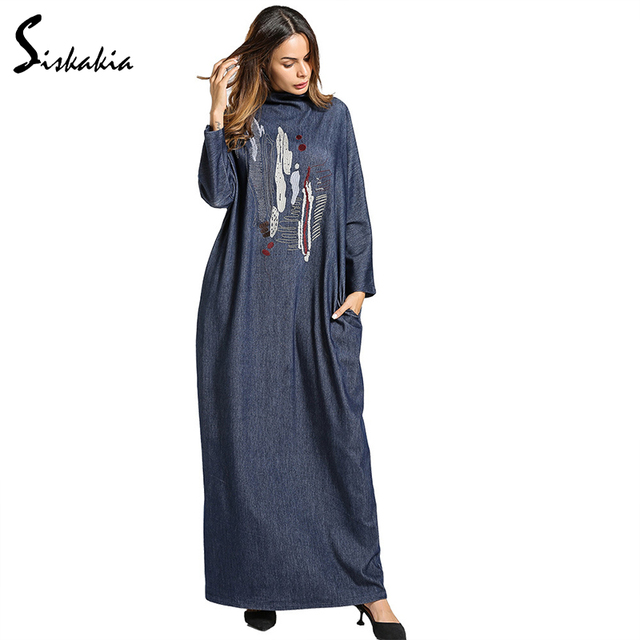 Siskakia Для женщин Водолазка Вышивка Макси Denim длинное платье зима 2017 Большие размеры Винтаж Длинные рукава халаты синий карман на молнии
