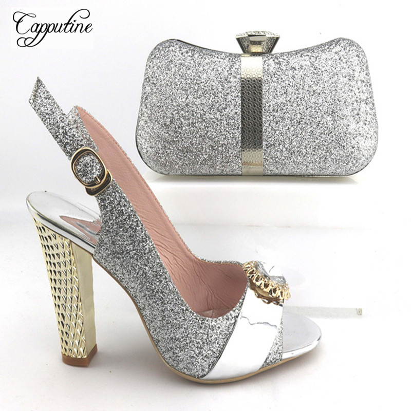 Capputine Hot Sale Italian Pumps Shoes And Bags Set African Style Rhinestone Hiht Heels Shoes And Bag Set For Party Size 38-42 capputine hot sale summer ladies shoes and bag set african style high heels shoes and bag set for wedding party tys17 91