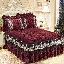 single pcs crystal velvet bedspread lace edge bedskirt slip resistant velvet bed cover high quality mattress