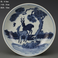 Antique QingDynasty porcelain Plate,Blue deer plate,Hand painted crafts,Decoration,Collection&Adornment,Free shipping