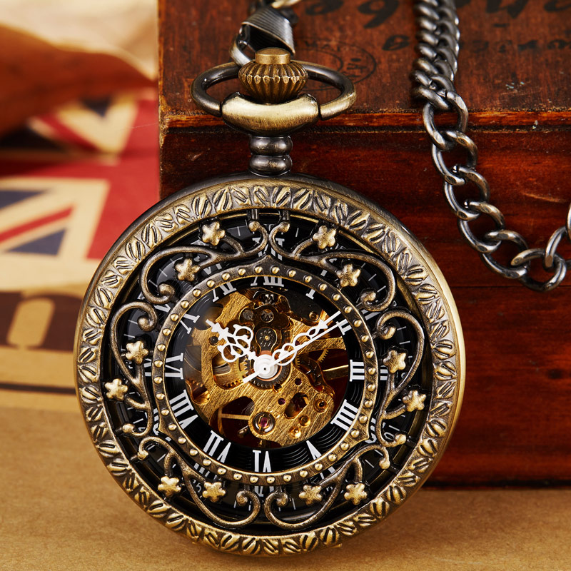 Vintage Necklace Watch Steampunk Mechanical Pocket Watch With Chain Hollow Hand-winding Pendant Clock Men Women Gold Bronze Gift