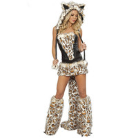 Cheap Hot New Arrival Sexy Adult Fox Costume Woman Cat Animal Cosplay Halloween Leopard Costume Party