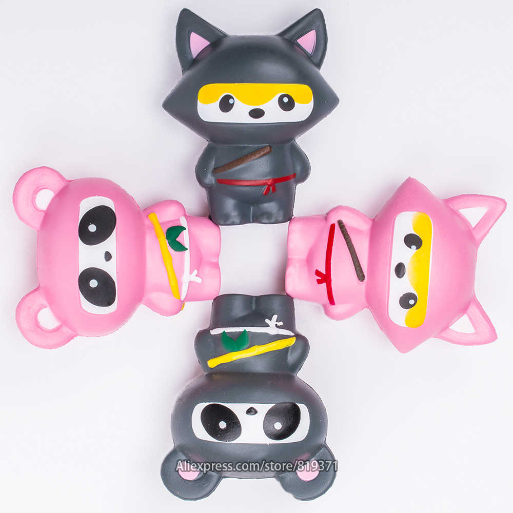 Jumbo 14CM Kawaii Ninja Squishy Panda Bear Fox Bread Soft Slow Rising Fun Sweet Charm Cartoon Cake Squeeze Toys For Children