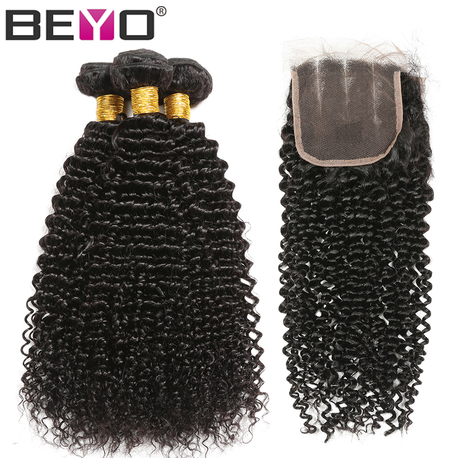 Beyo Hair Kinky Curly Bundles With Lace Closure 4x4 Brazilian Curly Hair Human Hair Bundles With