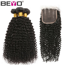 Beyo Hair Kinky Curly Bundles With Lace Closure 4x4 Brazilian Curly Hair Human Hair Bundles With Closure Non Remy Hair Extension(China)