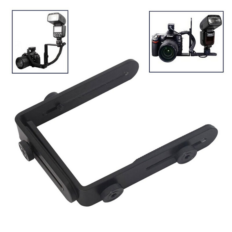 Wholesale 1 4 Hot Shoe Adapter camera flash bracket L bracket bilateral frame twin double L