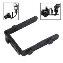 Оптовая продажа 1/4 Горячий башмак адаптер Камера flash l-образный кронштейн двусторонние рамки twin двойной L кронштейн L-кронштейн для камера