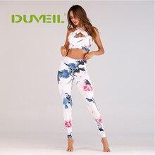 DUVEIL Women Yoga Set Flower Printing Bodybuilding Gym Running Sportswear Sexy Sports Suit Ladies Slim Vest+Yoga Pants