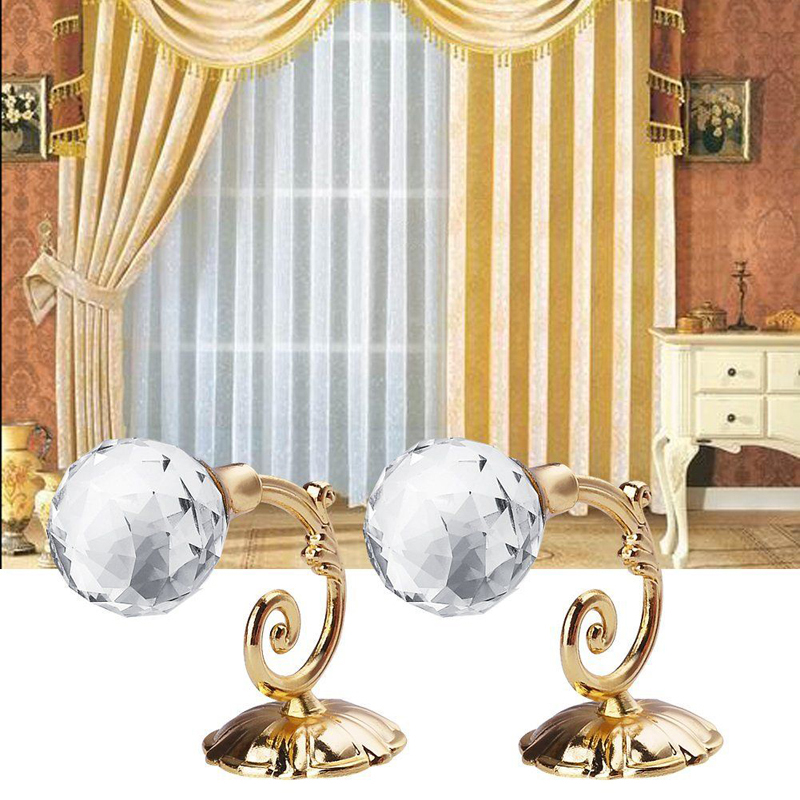 2x Large Alloy Crystal Glass Curtain Holdback Wall Tie Back Hooks Hanger Holder Fit For Hanging Tieback In Decorative Accessories
