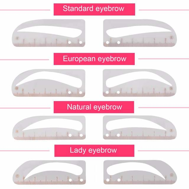 graphic relating to Eyebrow Shapes Stencils Printable named Fresh Shaping Grooming 4 Microblading Eyebrow Stencil Template Long-lasting Make-up Forehead Stencils Reusable Desig