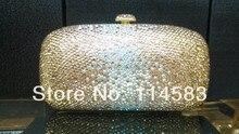 7763 кристалл золотой в постепенное эффекта изменения свадебные ну вечеринку ночь металл вечер кошелек клатч сумка