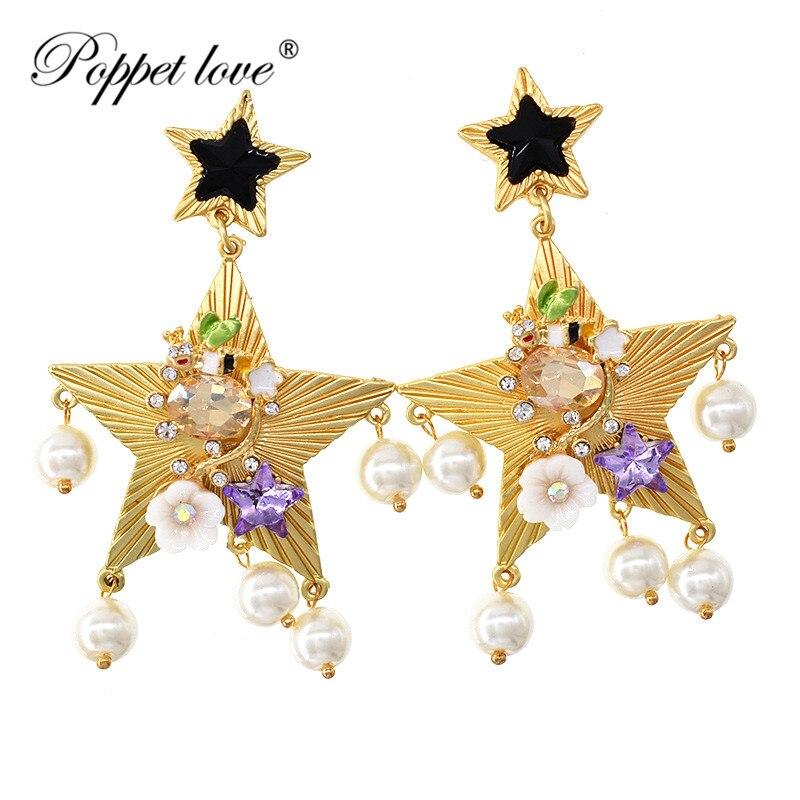 Мода цветы ударил Цвет большой пятиконечная звезда жемчужные серьги Brinco падение личности пентаграмма букле D'oreille Pendante Femme