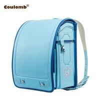 Coulomb Children School Bag For Boy And Girl Backpack PU Hasp Japan Randoseru Bag Kids Orthopedic Bookbags Mochila Escolar New