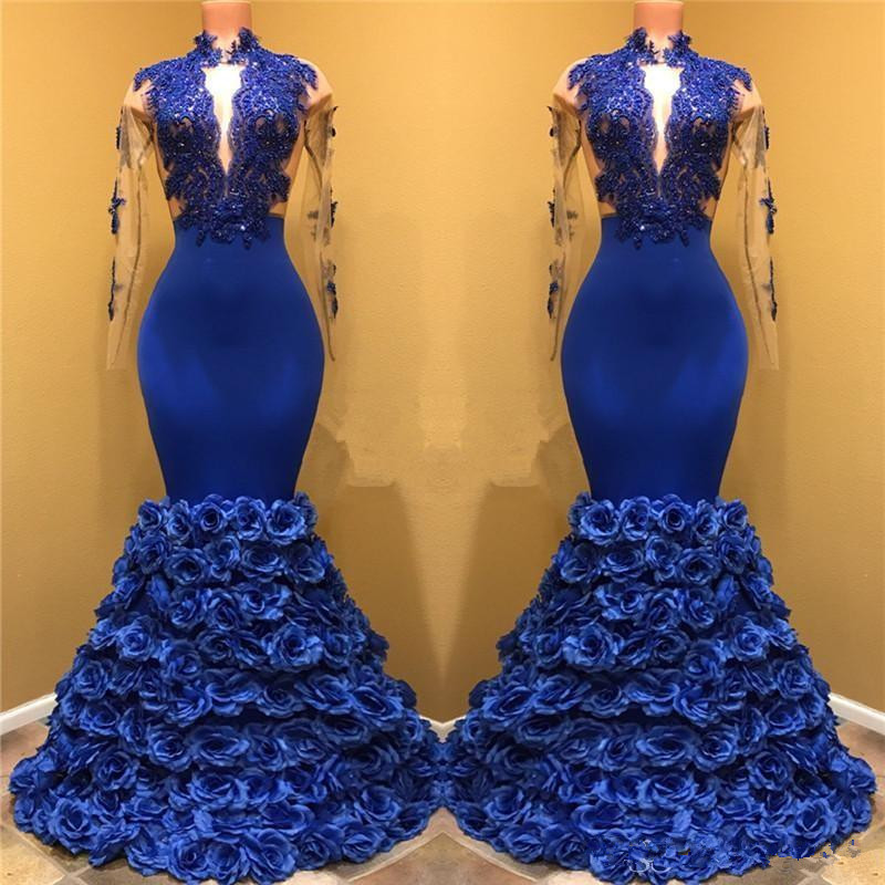 Royal Blue Robe De Soiree 2019 Mermaid Long Sleeves Flowers Lace Beaded Sexy Long Party   Prom     Dresses     Prom   Gown Evening   Dresses
