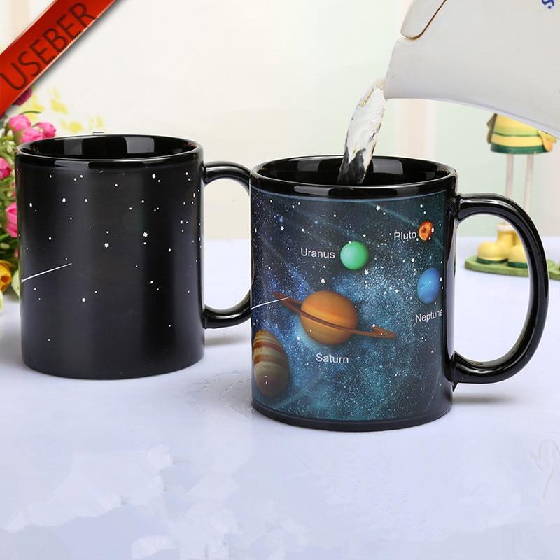 385ml Cool Ceramic Solar System Change Color Mugs Heat Sensitive Color Changing Mugs Sublimation Coffee Tea Change Color Mug