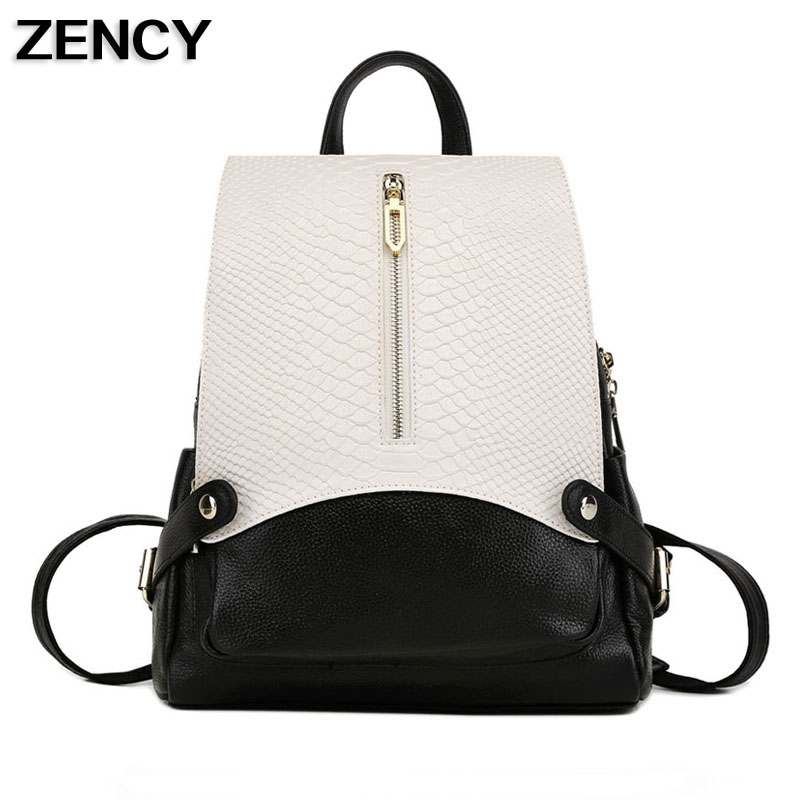 2017 Fashion Designer <font><b>Real</b></font> Genuine Leather Crocodile Pattern Backpacks School Bags For Girls Fashion Cowhide Bookbag Notebokk