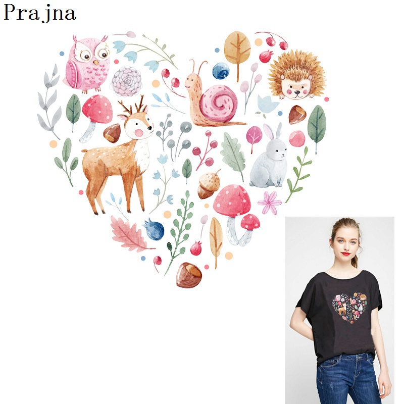 Forest Animals Iron On T-Shirt Transfer Print Leaves