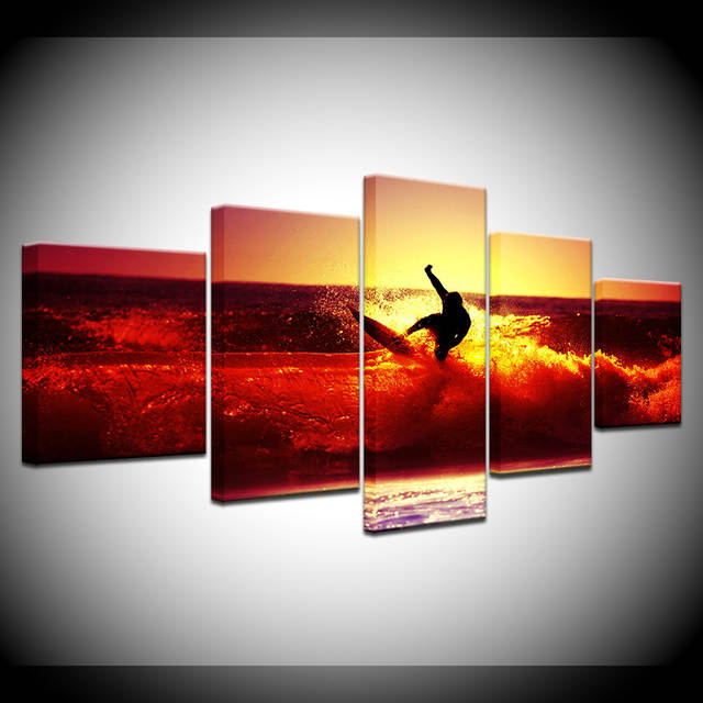 Us 568 42 Offocean Sea Surfing Red Sunset Waves 5 Piece Wallpapers Art Canvas Print Modern Poster Modular Art Painting For Living Room Decor In