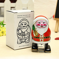 Freeshipping Hot Vintage Wind Up Tin Toy Clockwork Father Christmas Spring Santa Claus Classic Retro Toy