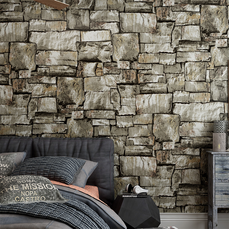 Beibehang 3D simulation brick wall wallpaper retro nostalgic marble stone pattern bar coffee shop industrial wind 3d wallpaper