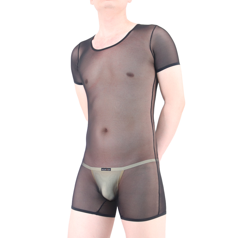 Mens Sleepwear Transparent Bodysuit Ultra-thin Waist Abdomen Shaper Sexy Short-sleeve Satin Slim Pajamas Men