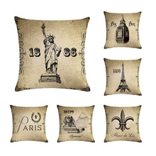 European Decorative Cushion Cover Logo Building Freedom Goddess Tower Pisa Leaning Pattern Hug PillowcaseDecoration