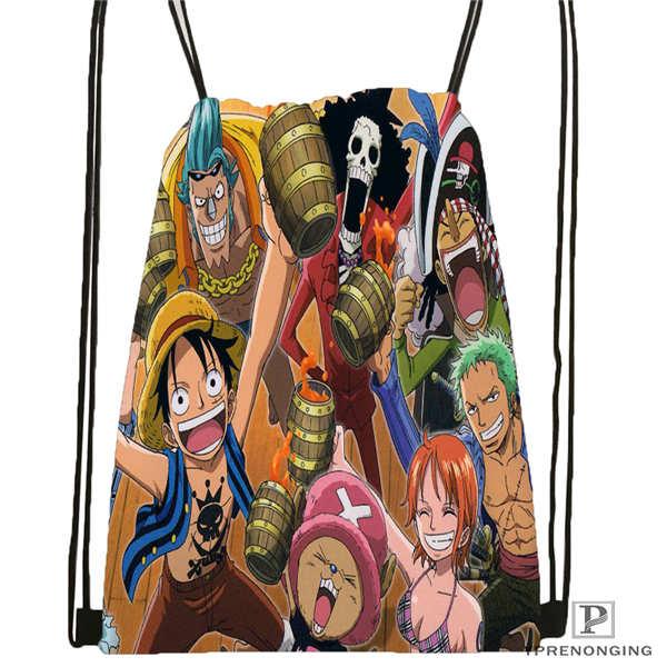 Custom One Piece@2  Drawstring Backpack Bag Cute Daypack Kids Satchel (Black Back) 31x40cm#20180611-02-86