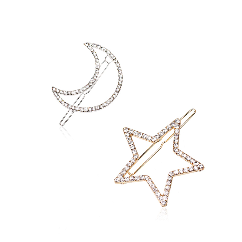 M MISM Women Girls Crystal Rhinestone Star Moon Hair Clip Beauty Hairpin