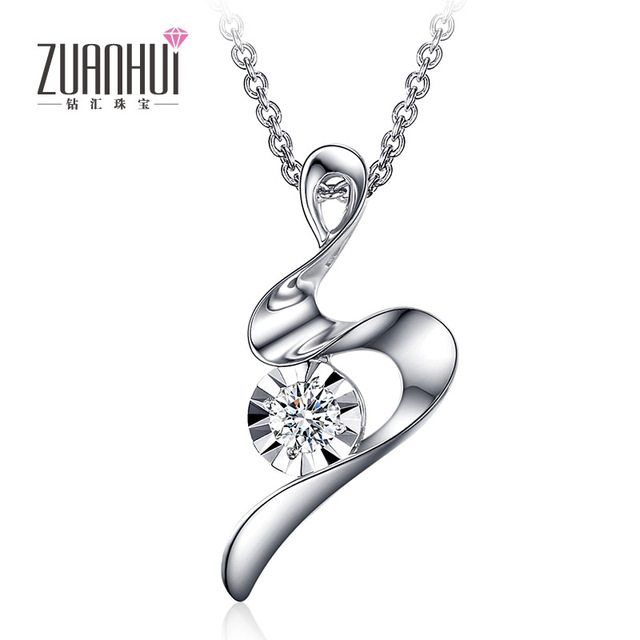 Zuanhui 9 k white gold diamond pendant nymph ladies fancy diamond zuanhui 9 k white gold diamond pendant nymph ladies fancy diamond necklace wedding with chain mozeypictures Image collections